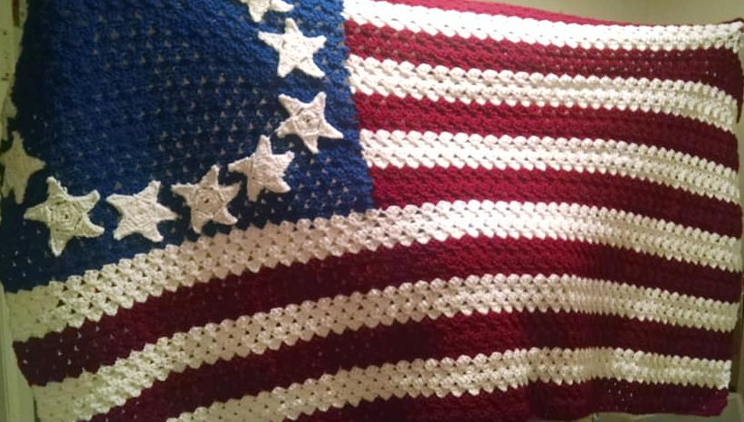 Avi, I've been crocheting some to sell and make some extra money, started before the nike fiasco though. I was sewing stars on today. #BetsyRossFlag #ColonialFlag. pic.twitter.com/hChOAMCImt
