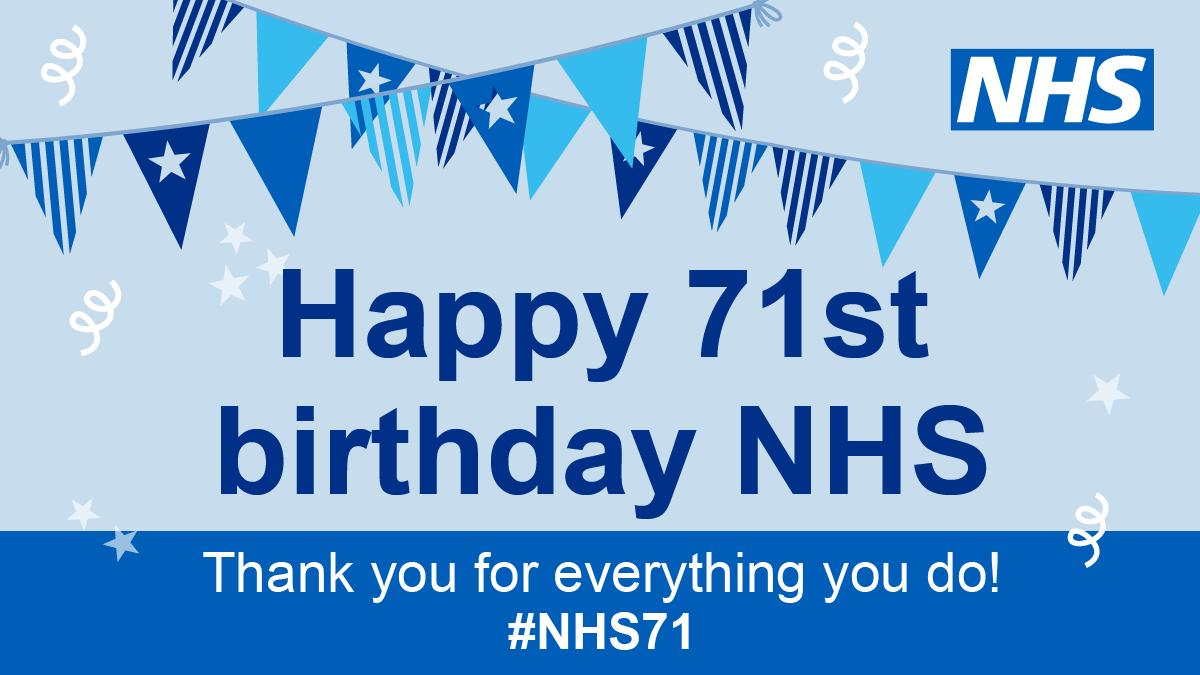 🎉 Happy Birthday NHS! 🎉 Today marks 71 years since our NHS launched. Share your stories, host your #NHSBigTea parties and help us celebrate staff at every level and the amazing care delivered day in, day out. #NHS71 #ThankYouNHS