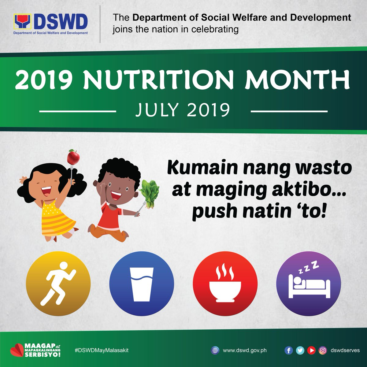 dswd joins the nation in celebrating the 2019 nutrition month with the theme quot