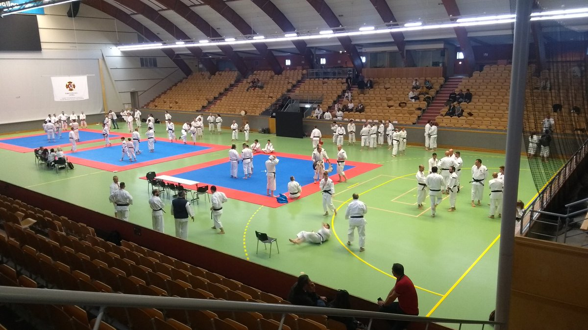 Preparations for the embu competition are underway, people are practicing. But there will be a lot more people in here tomorrow. #SWETaikai19