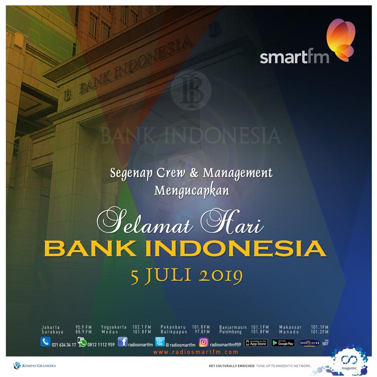 Selamat Hari Bank Indonesia, 05 Juli 2019! • Semangat menjaga stabilitas ekonomi Indonesia!  #haribankindonesia #bankindonesia #smartfm959 #kompasgramediagroup https://t.co/82jx4Yxi2j
