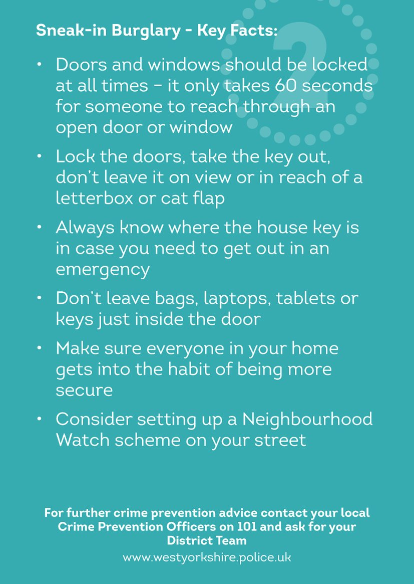 0 homes/dwellings burgled in the past 24 hours in @Calderdale! In Calderdale ALL residential burglaries are investigated by our dedicated  burglary team of CID detectives. #SaferCalderdale @WYP_CldrValleys @WYP_Halifax