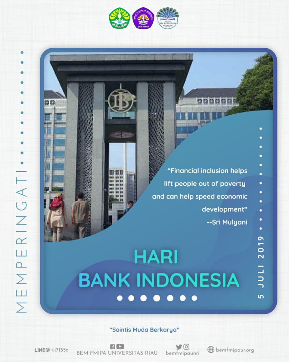 "[TINTA PERGERAKAN | HARI BANK INDONESIA] . ""Financial inclusion helps lift people out of poverty and can help speed ... #BEMFMIPAUNRI  #TintaPergerakan #SaintisMudaBerkarya #HariBankIndonesia  Cek selengkapnya di :  https://t.co/6SdHCvNWoN https://t.co/VvHxCnuB14"
