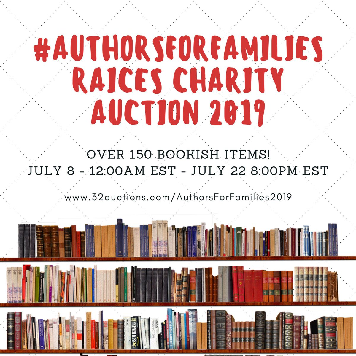 Ta-da! The #Authorsforfamilies RAICES Charity Auction goes LIVE midnight July 8th 2019! We were able to add 152 of the 300+ donation offers we received, so THANK YOU all! Please refer to this thread for updates & answers to FAQs. ❤️ 32auctions.com/AuthorsForFami…