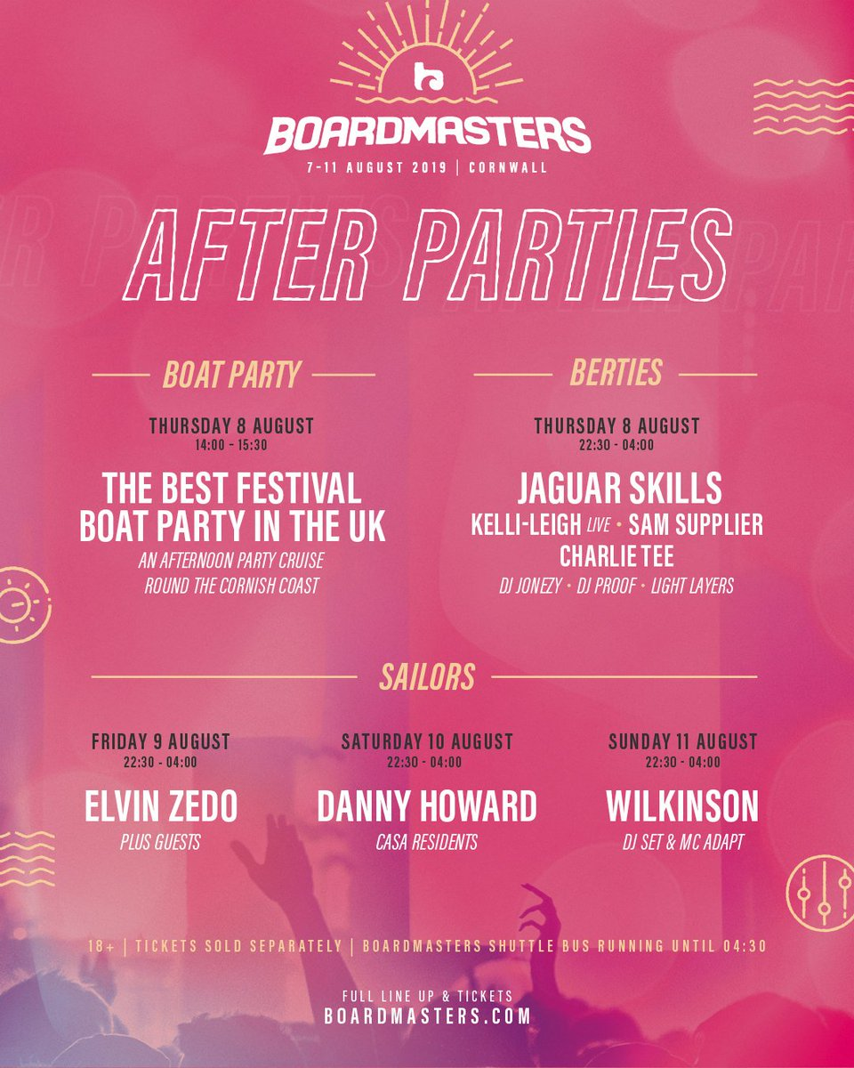 2019 Boardmasters Festival After Parties lineup
