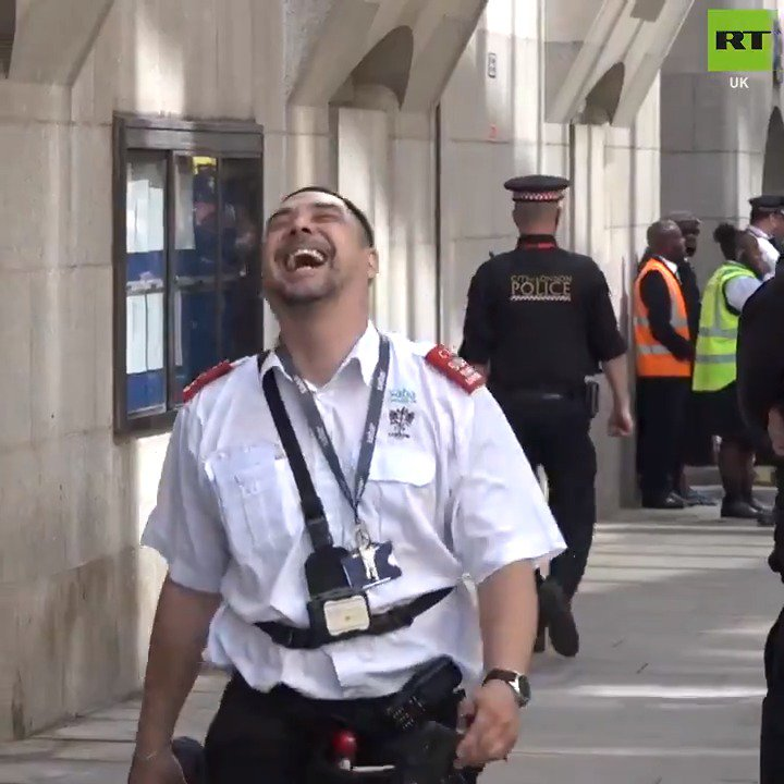 """Oh I do love my job sometimes"".   A ticket warden was seen laughing off abuse given by Tommy Robinson supporters after he gave the EDL founder's campaign bus a parking ticket. Tommy Robinson is currently standing retrial for a contempt of court charge."