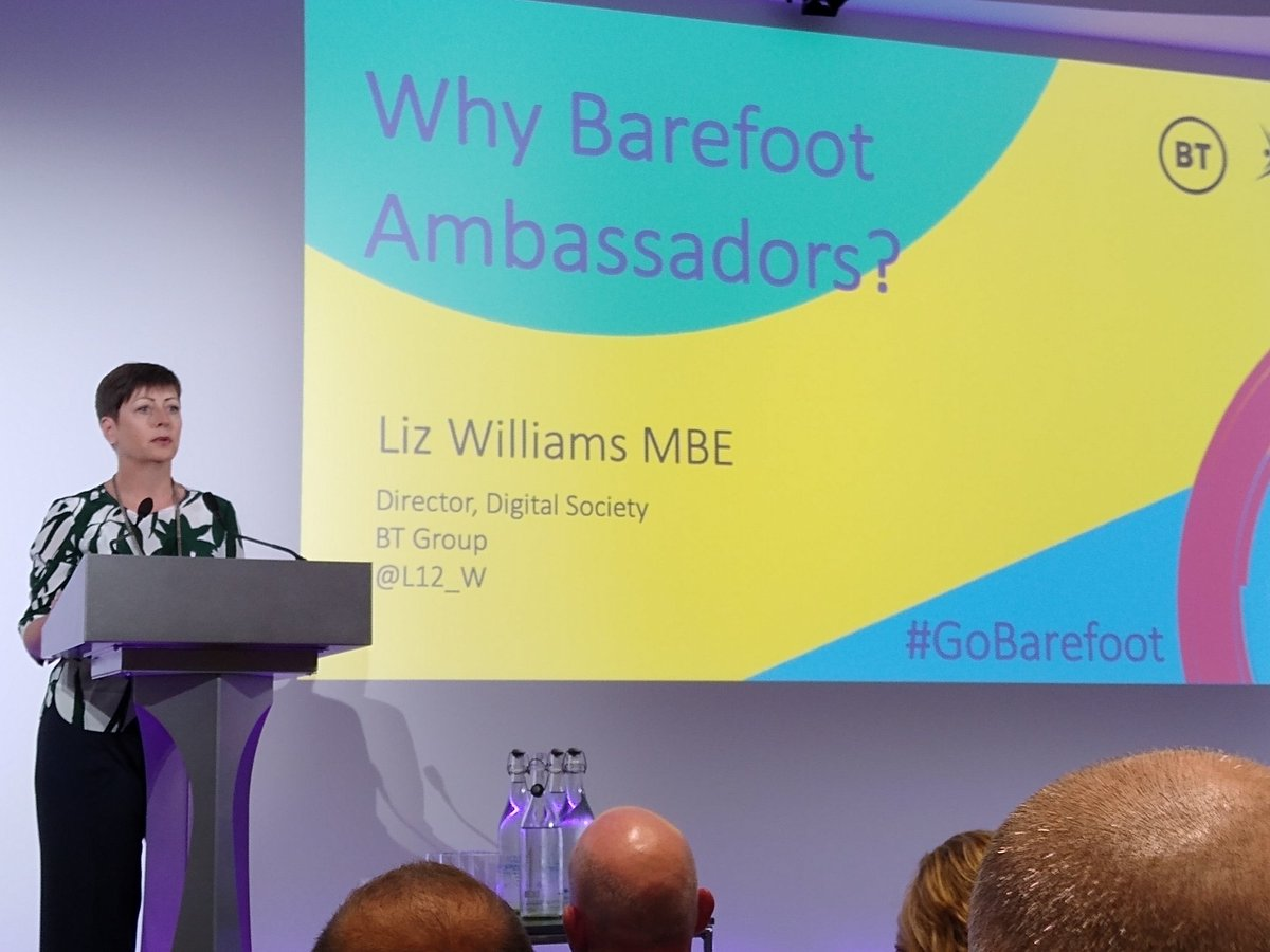 The inspirational @L12_W talks about @bt_uk commitment to @BarefootComp, a truly amazing collaboration between @bcs @CompAtSch. @DrChips_ @janewaite your work has had so much impact already, super excited about this next stage #gobarefoot