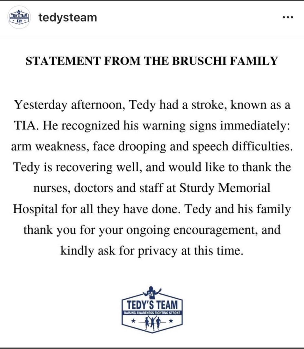 Best wishes to a great teammate and friend, @TedyBruschi.
