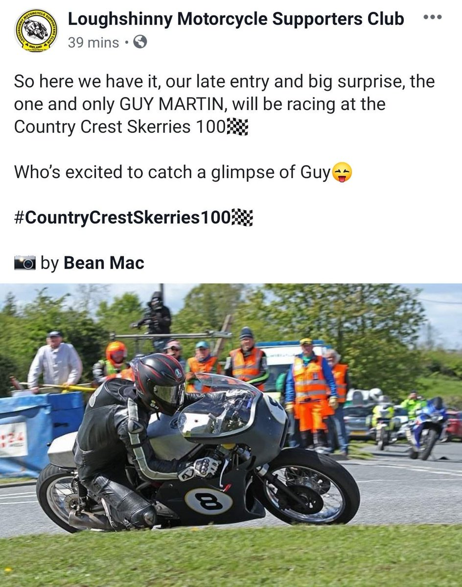 Guy Martin confirmed as a late entry for this weekends Skerries 100 road races #Skerries100 #Roadracing #GuyMartin thanks @CMRMC3 for the heads up 👍👍