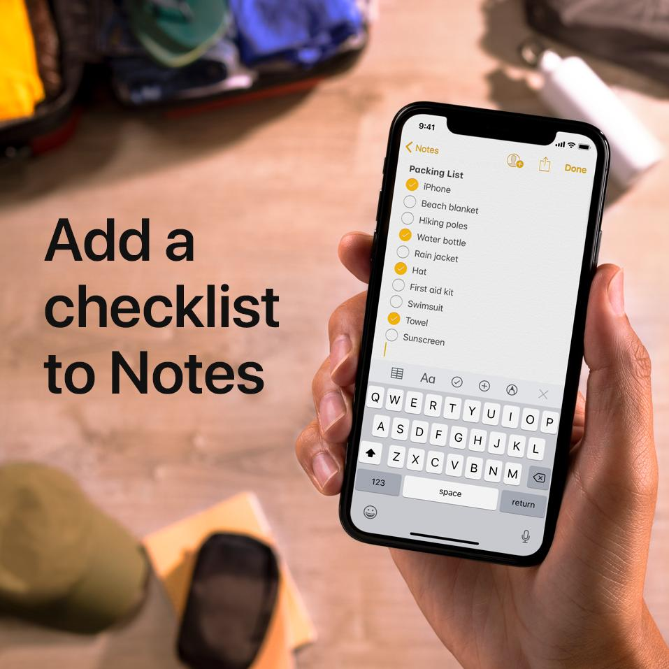 ✅ Beach blanket ✅ Hiking poles ✅ Water bottle  Here's how to create a checklist in Notes so you don't forget a thing: https://apple.co/2xw8Exe
