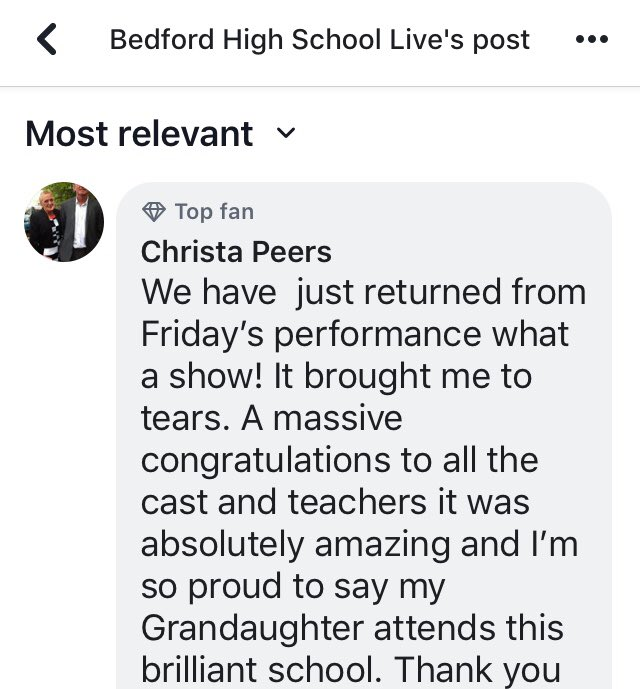 What lovely reviews. Thank you so much! @SarahNic13 @BedfordArts @BedfordHighSch #wearebedfordarts