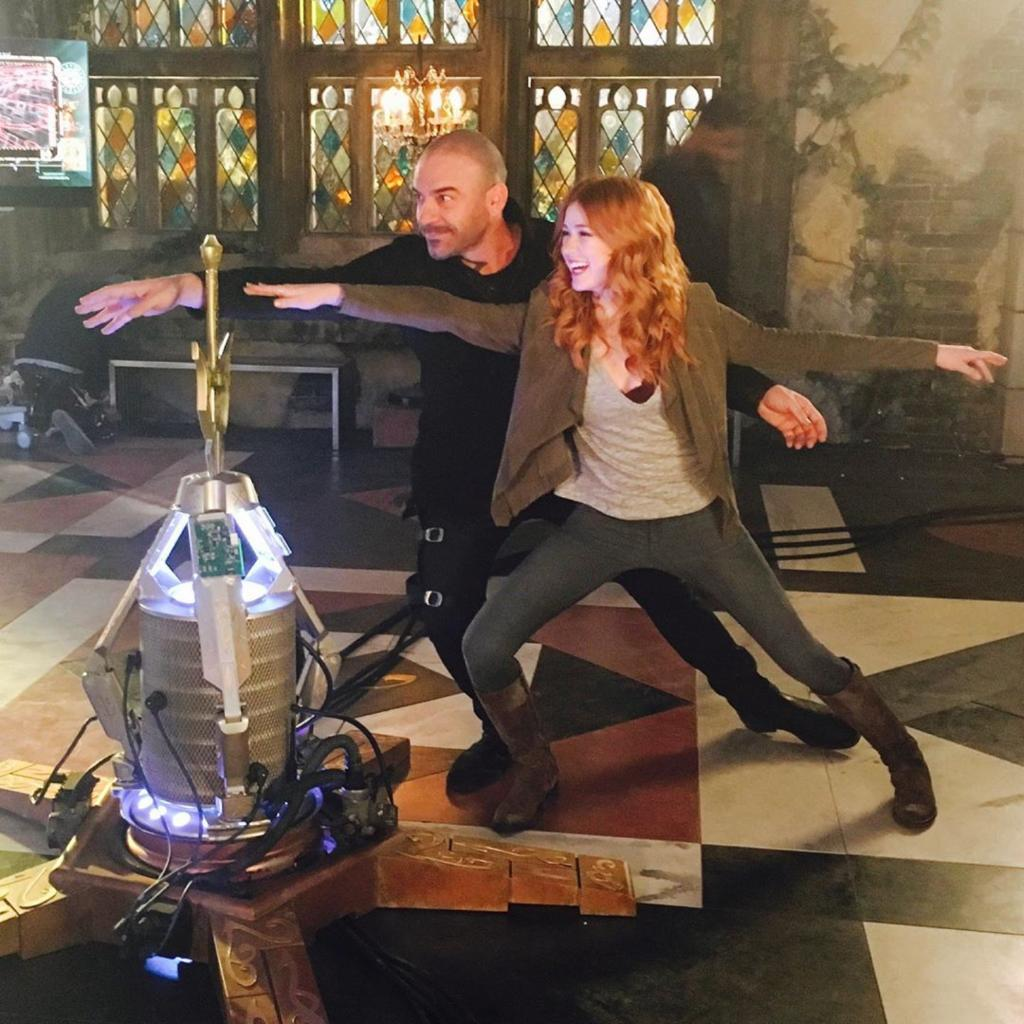 Flashback to father daughter yoga. Behind the scenes of #Shadowhunters. #FBF