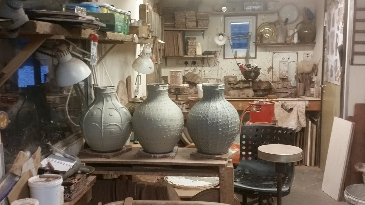 A view of the workshop this evening. The three big jugs have just been slipped. I've another nine to handle and decorate, so a busy weekend ahead. The best will be for the Slipped exhibition @CeramicsCentre , London  #slipware  #fitchandmcandrewonline  #contemporaryceramicscentre