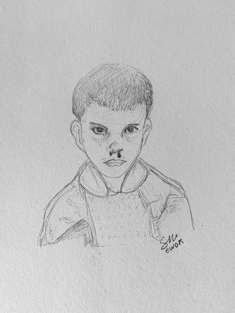 During today's stream I drew a portrait of Eleven. #StrangerThings3