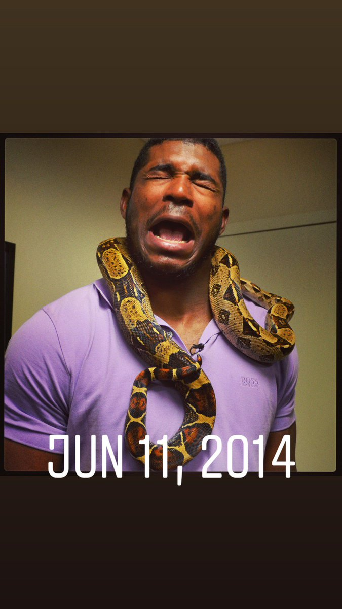 5 yrs ago, @YasielPuig visited & faced his fear of snakes. He came back today and, w/ help from Suarez & Castillo, did much better! Fun @Reds day off!