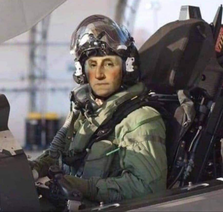 General George Washington posing for a pre-flight picture just before handing Cornwallis his ass at the Battle of Yorktown (from ATC Memes)