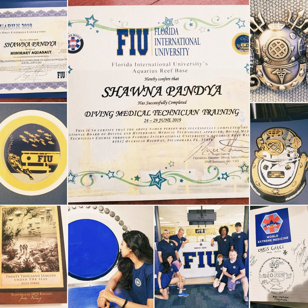 10 days, 1 exam, many medical sims, an Aquarius stay & many friendships later, I am a certified Dive Med Tech & honorary aquanaut!   Thanks @Aqua_OGriofa @ExpedMedicine @FIU & @ReefBase for an INCREDIBLE course...the memories will last a lifetime! Same time next year? ❤😉🌊🐠