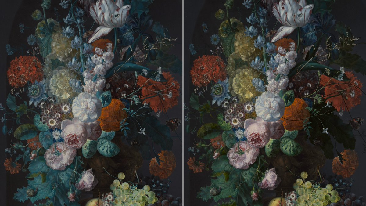 Before 👉After  Three centuries of light exposure caused Margareta Haverman's famous still life to fade. In our latest blog post, discover how a team of conservators and curators brought it (digitally) back to life. http://met.org/2xuweuw #MetDutchMasterpieces