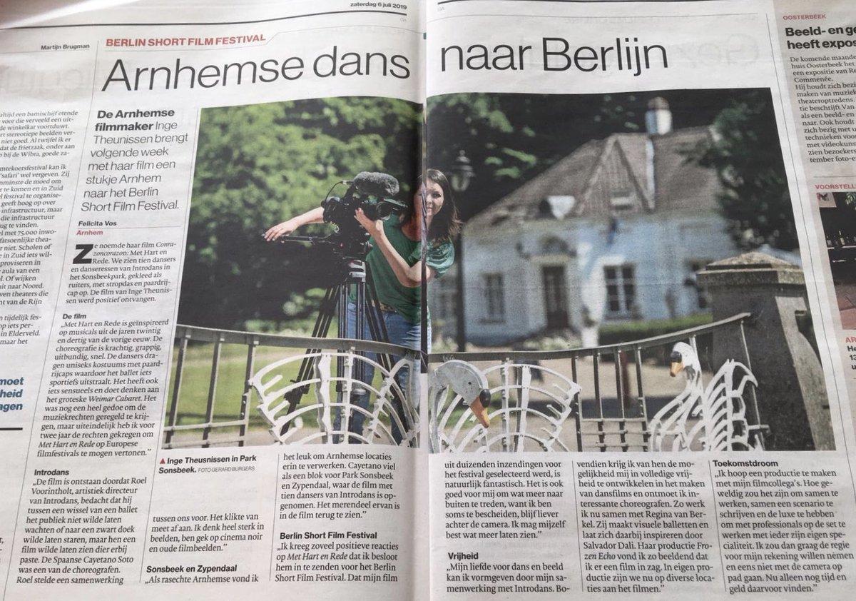 De film 'Conrazoncorazon' van Inge Theunissen met Introdansdansers is geselecteerd voor @BerlinShort en is daar 12 juli te zien. Vandaag in @DeGelderlander, in juni 2020 als onderdeel van #ENDOFSEASON in @MusisenSTArnhem. @MadeInArnhem026