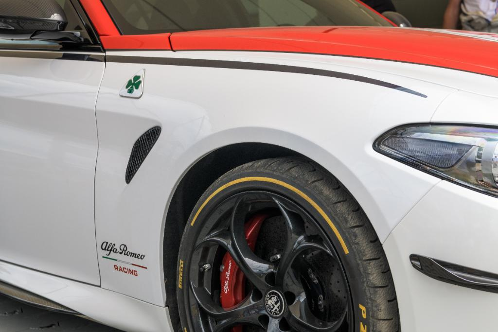 The 520hp Giulia Quadrifoglio Alfa Romeo Racing Limited Edition, born to challenge. Come see it at @fosgoodwood.#FOS