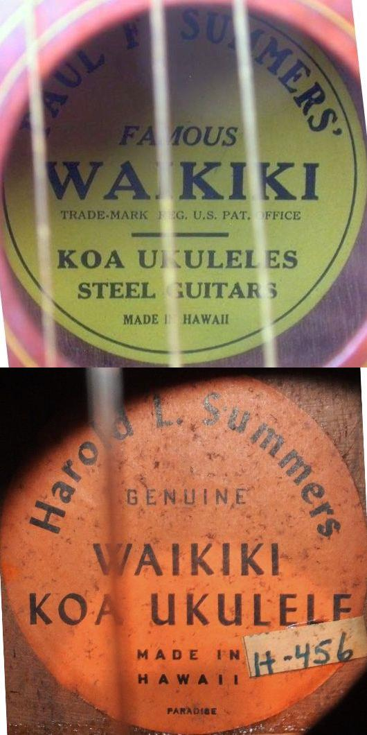 1920s paul summers harold Ukulele sound hole label
