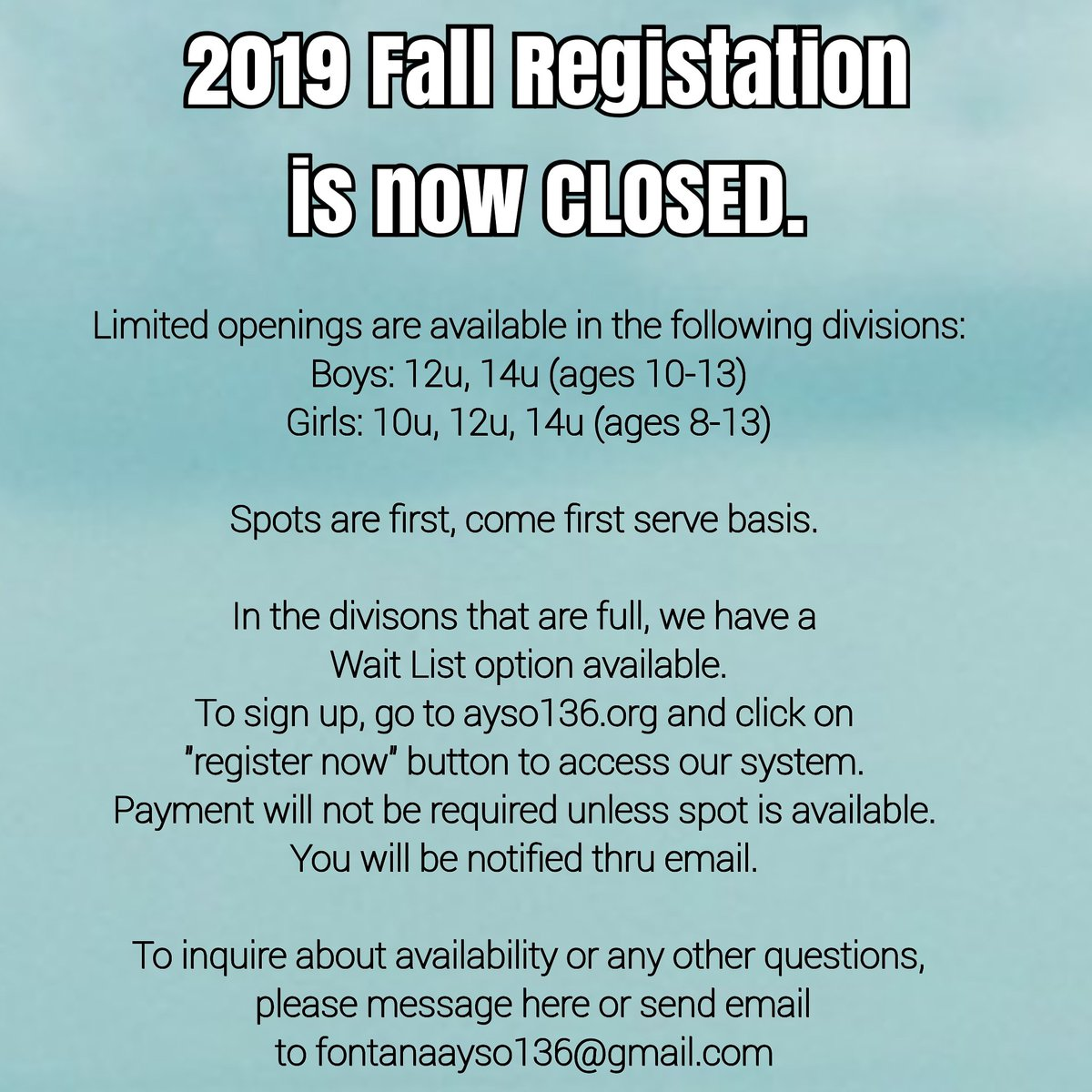 Ayso region 9 late registration