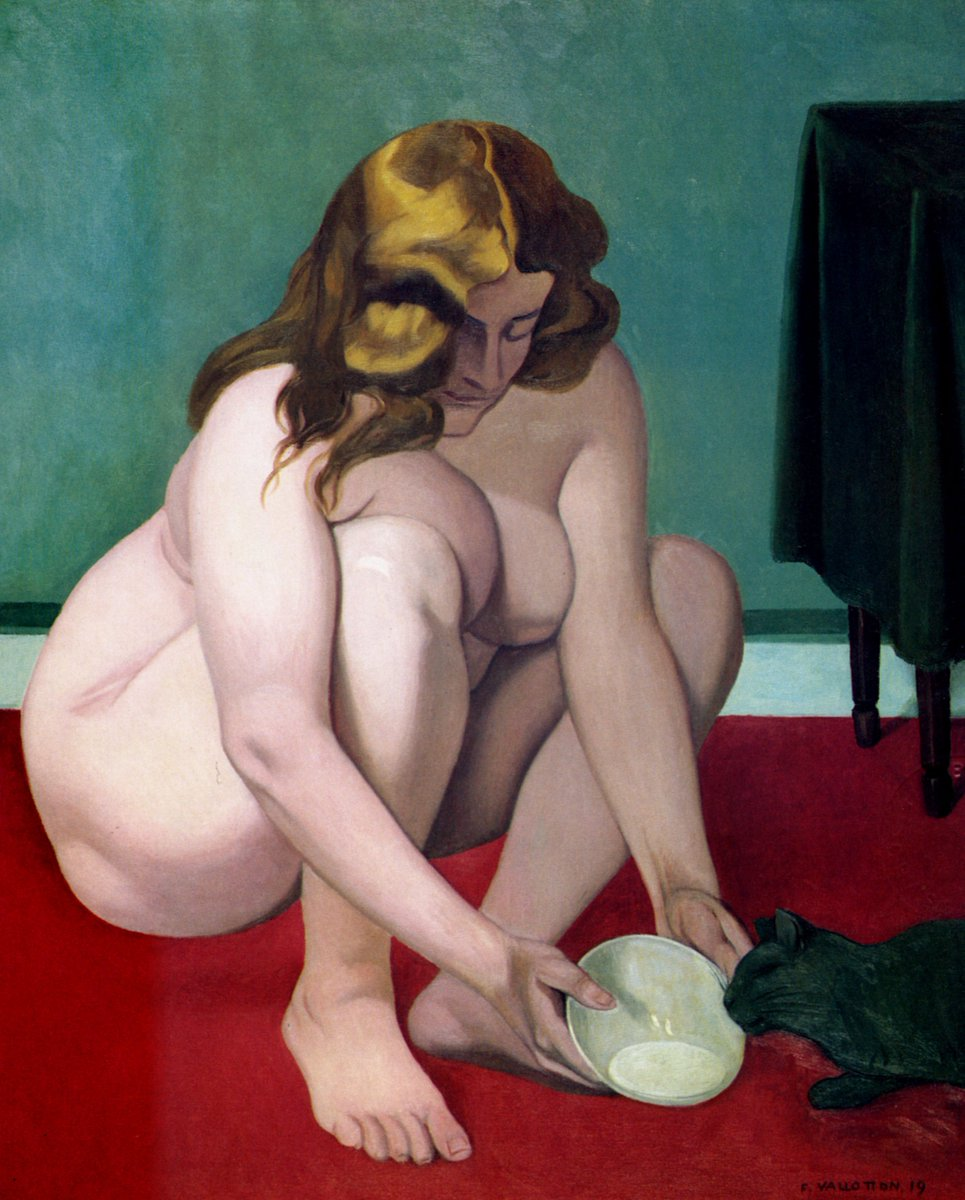 Squatted woman offering of milk to a cat, 1919 #swissart #vallotton