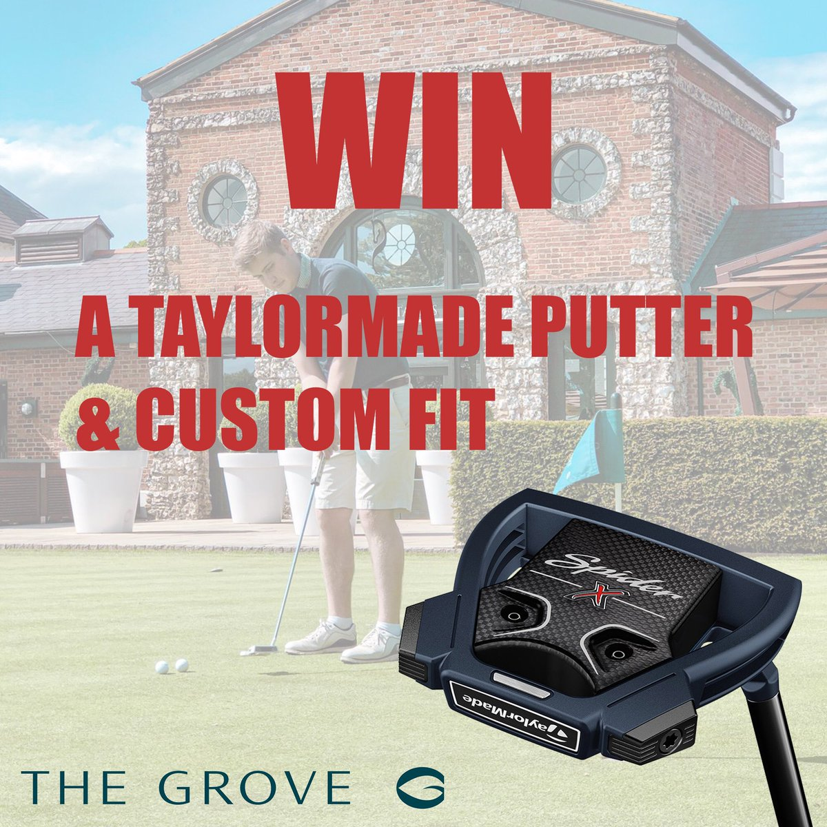 It's COMPETITION TIME at The Grove. ⠀⠀ Win a @TaylorMadeTour Putter (inc. Custom Fit with @MikeShrieve). To enter: ⠀⠀ 1️⃣ Follow @golfatthegrove 2️⃣ RT Post 3️⃣ Tag 3 Friends  🔜 Winner Announcer Monday 22 July ⠀⠀ Good luck! #golfatthegrove #taylormade #taylormadegolf #spiderx