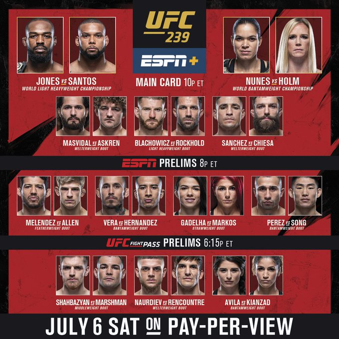 Watch UFC 239 Live Stream Online Reddit free Official Channels