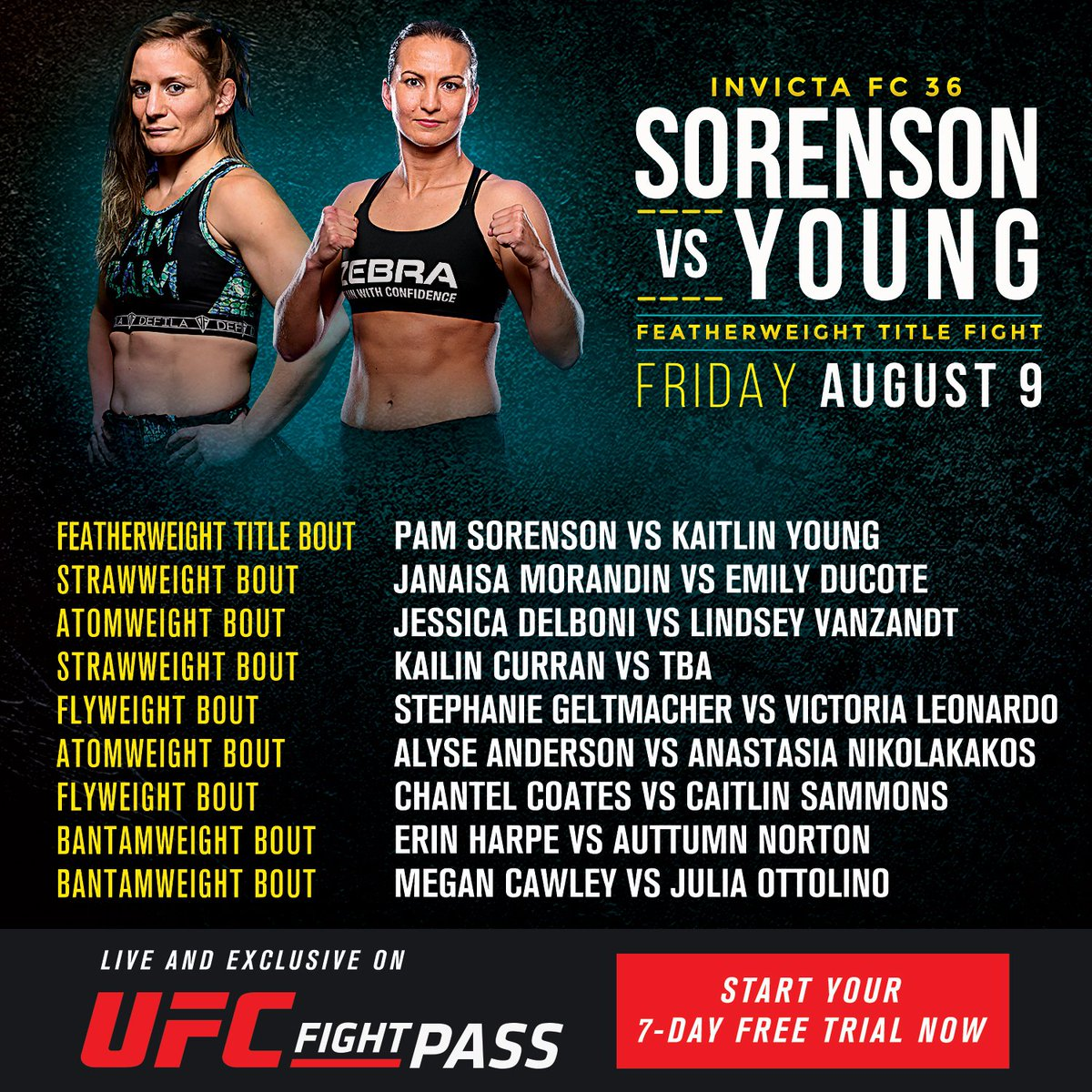 #InvictaFC36 returns this August 9th and features a stacked card with @PamBam_Sorenson taking on @kaitlin_young for the vacant featherweight title!   🎟️: http://bit.ly/2KUATyG