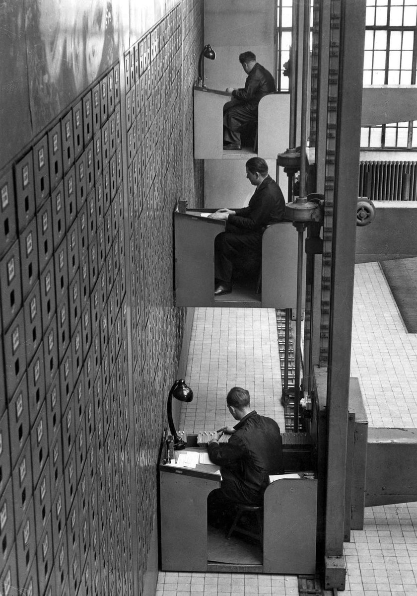 This was a 1TB hard drive in 1937. It was the largest vertical letter file in the world. 4000 SqFt. with over 3000 drawers 10 feet long managed by 20 workers. Access speed was ~3 minutes per KB.