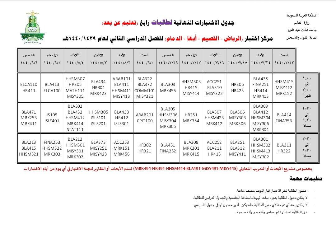 جدول الاختبارات جامعة الملك عبدالعزيز 1440 Doted24 Blogspot Com