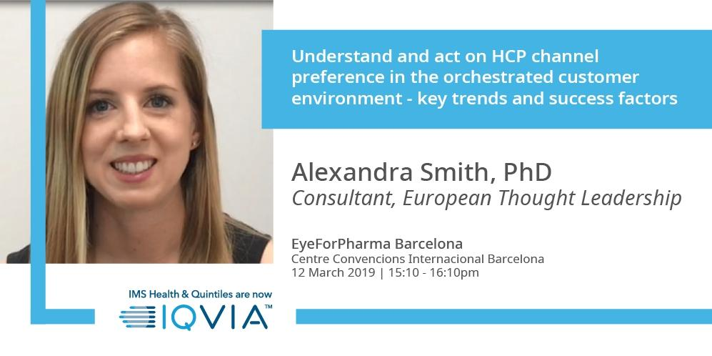 Visiting #efpBarca? Don't miss #IQVIA's AlexandraSmith workshop on understanding and acting on HCP channel preference in the orchestrated customer environment - key trends and success factors.  Find out more : http://bit.ly/2H0A6Kx