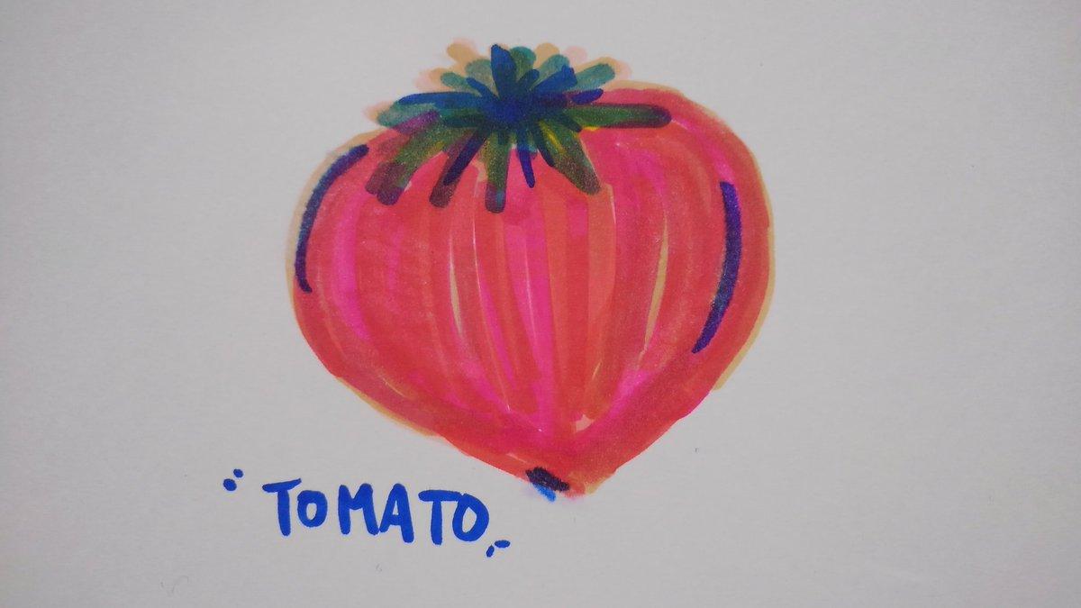 test ツイッターメディア - 寝る前の落書き。 トマト🍅 …トマト?(笑) 買ってきたマーカー紫系が無かったんだよな。 紫色もあるのかな。 #キャンドゥ https://t.co/ZEnBFzlwjz