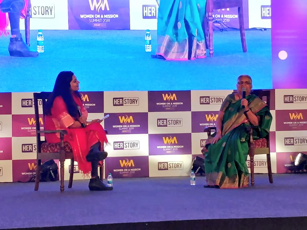 """""""One should not worry about the limelight because it cannot stay fixed on one person. It keeps on moving. Just think about what you like to do,"""" says Sudha Murty, philanthropist, author and Chairperson of the @Infosys Foundation, at the #WomenOnAMission Summit."""