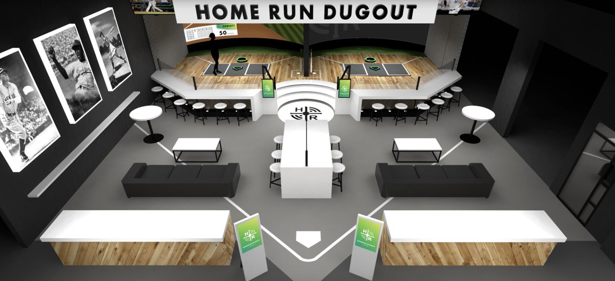 Think Topgolf, but for #baseball.  Equipped with real batting cages, @HomeRunDugout also features an augmented reality experience that allows users to see their projected swings in any MLB stadium all while having dinner and drinks.