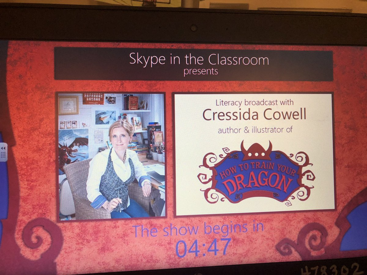 Happening now @WOESVB @SkypeClassroom meet the author of How to Train Your Dragon.