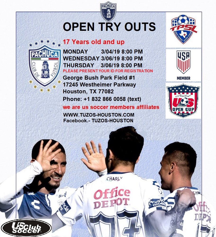 Tuzos Houston will be holding tryouts as our season is coming up for Texas Premier Soccer League, if you've got what it takes come out. Dm me for more info or text/call the number in the first picture.