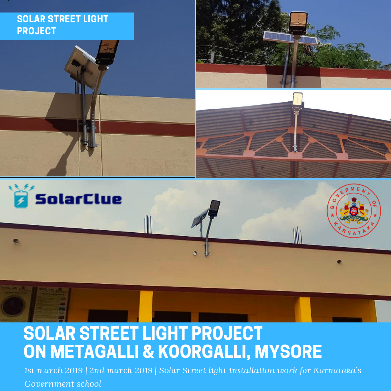 A glimpse of the solar street light project completed by Solarclue at Karnataka's Government school, In Mysore's Metagalli & Koorgalli location. #Solar #Solarstreetlight #solarlight #Solarproject #karnataka #Mysore