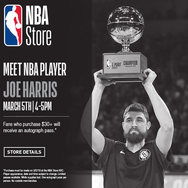 📅2019 @nbaallstar 3-Point Champion Joe Harris of the @BrooklynNets will be stopping by tomorrow, 4-5pm @NBAStore NYC!