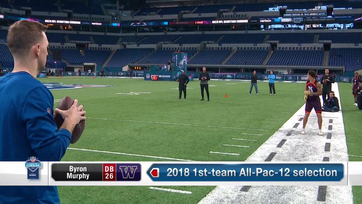 Top CB prospect @ByronMurphy making it look easy 👀 @UW_Football 📺: #NFLCombine on @nflnetwork