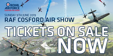 Tickets for the RAF Cosford Air Show on Sunday 9th June are selling fast!  With a thrilling 6-hour flying display and hundreds of things to see and do on the ground, it's the ultimate day out for all the family.  Find out more, and buy your tickets, at http://www.cosfordairshow.co.uk ✈️