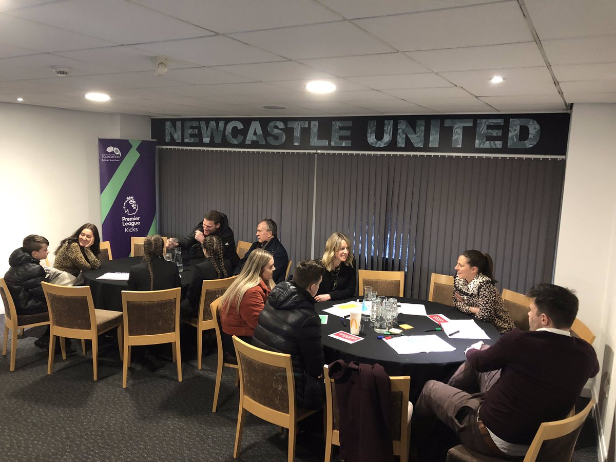 Our trustees have loved hearing from participants from the @premierleague Kicks programme at @NU_Foundation tonight 🙌🏻 So much value in participants deciding what they want the content of their activities to look like 🙌🏻 #carrickskicks #newcastle #football #charity #nufc ⚽️