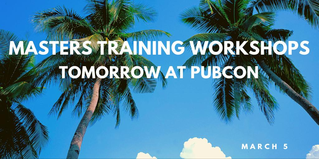 Registration starts at 8am for our Pubcon Masters Workshops tomorrow. We look forward to seeing you!   Conference Schedule: https://www.pubcon.com/agenda-florida-2019… #Pubcon #FortLauderdale
