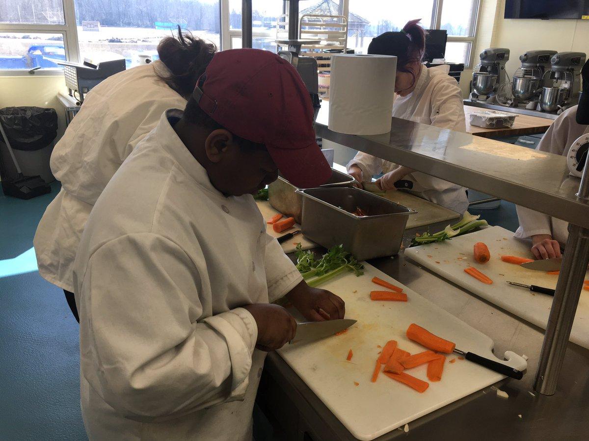 BCIT Medford Freshmen students working on their knife skills @BCITMedfordCTE @BCITTWEETS