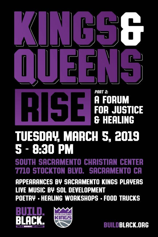 Tomorrow night - join us for a forum for justice and healing.  5-8:30pm at South Sac Christian Center.  Food, healing workshops, music and @SacramentoKings players