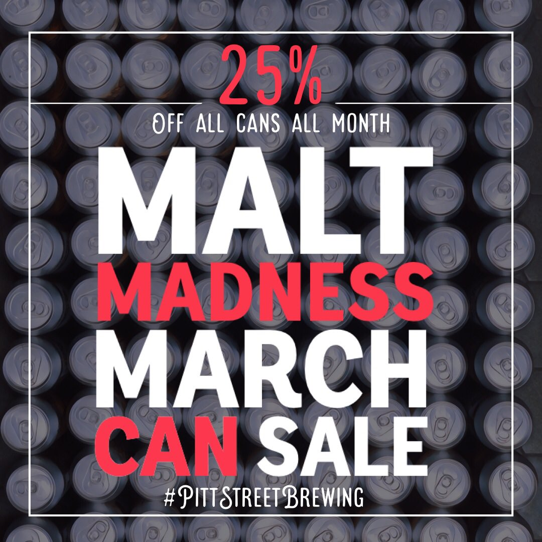Malt Madness is setting in! Get 25% off of all Pitt Street's canned beer for the entire month of March! That includes Haychaser Kölsch, Dapple Dog Dry Stout, Pactolus Light Lager and Code of Conduct Hazy IPA! March on in and grab a case!! #maltmadness #pittstreetbrewing