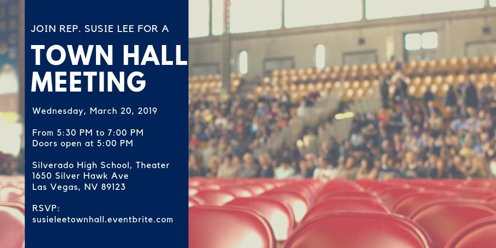 🚨I'll be hosting my first #TownHall in #NV03 this month!🚨  Join me at Silverado HS on Weds 3/20 @ 5 PM to hear about the work I'm doing in Congress, ask me any questions, & get assistance from my staff. RSVP➡️ http://susieleetownhall.eventbrite.com
