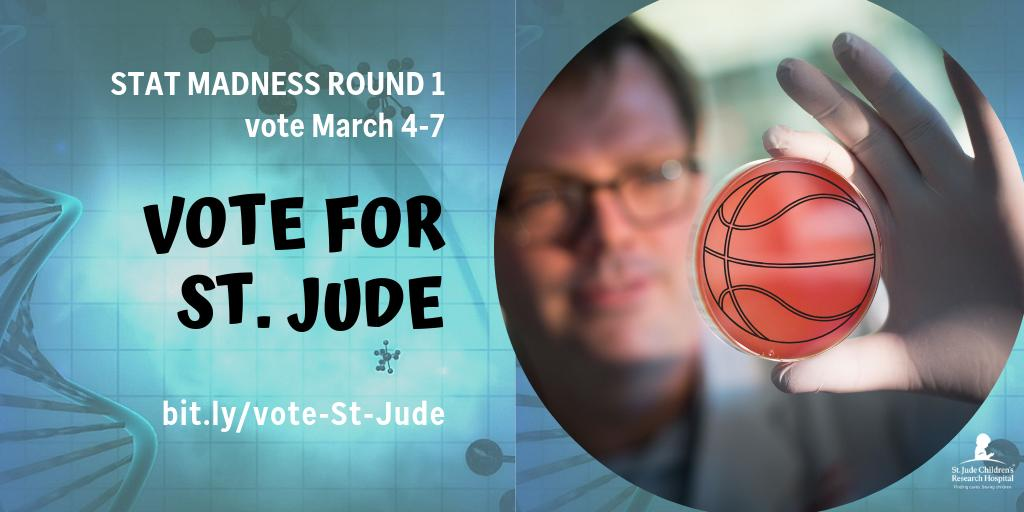 Do you think St. Jude science is a slam dunk? Vote for St. Jude in #STATMadness—a contest designed to highlight discoveries & inventions in life sciences. http://bit.ly/vote-St-Jude