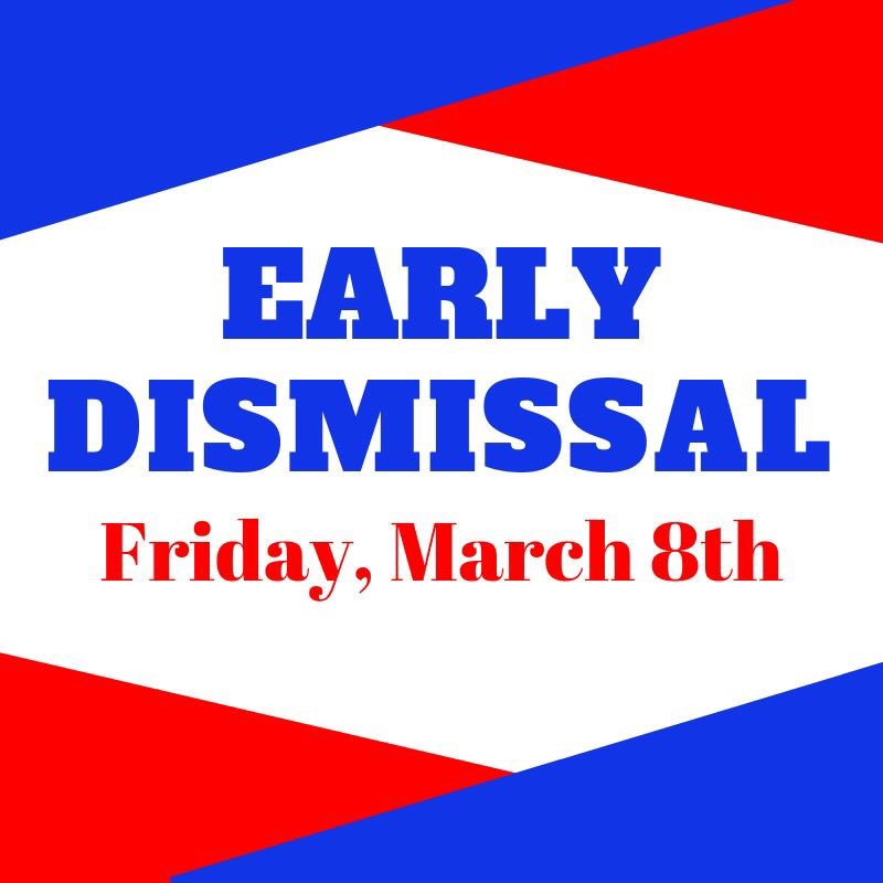 Early dismissal this Friday, March 8th. @CHSCards and @CMSCardinals 12:15 @CIScards345 12:45 @HenryElementary 12:50 CECC-No School #CardinalPride